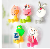 Cheap 2015 very cute Cartoon sucker toothbrush holder   suction hooks  household items  bathroom toothbrush rack bathroom set 5pcs lot