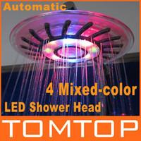 Wholesale 4 Mixed color LED Shower Head Bathroom Sprinkler Romantic Automatic Control Ducha Rain Showers Heads Base Power Douche Set