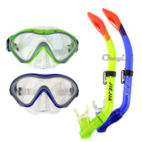 Wholesale Semi Dry Snorkel Goggle Breathing Tube Snorkeling Equipment Tempered Glass Mirror Silicone Swimming Scuba Diving Mask YJ034G R30