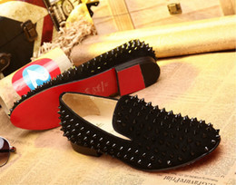 red spiked loafers for men