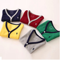 Wholesale 2015 autumn and winter children s new arrival cardigan boys girls baby simple v neck casual kids cardigan polo sweater coat