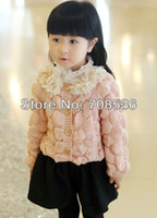 apricot computers - New fashion lace flowers girls sweater children s cardigan baby outerwear kids wear pink apricot pc