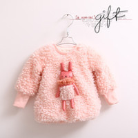 babies outer jacket - Fashion Hot sweet rabbit thick baby velvet girl child kids lovely Sweater Outerwear Outer Jacket gift