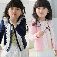 Wholesale New girls clothing outerwear lace gentlewomen all match cardigan knitted sweater knitwear children s clothes