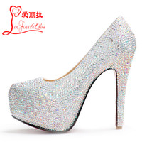 Wholesale women wedding high heel shoes crystal fur lady platform pumps rhinestone woman with strap H02811