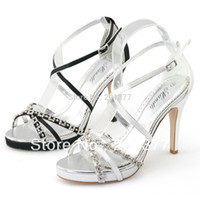 ankle strappy sandals - SHOEZY New cross strap ankle high heels woman White Black Satin Strappy Diamond Stilettos sandals for wedding prom party