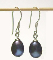 Wholesale 10Pairs Fashion Jewelry Black Pearl Earrings Silver Hook For Gift Craft Jewelry C05