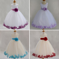 Wholesale New Tulle Flower Girl Dress With Sashes Lace rose Petal Kids Dress For Girls High Quality Girl Dress for Wedding Vestido