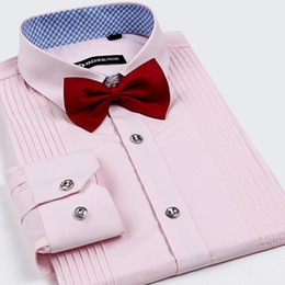 Wholesale hot style new Spring and autumn and the groom wedding dress shirt male bow tie french cufflinks shirt long sleeve slim pink
