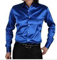 Cheap Wholesale-free shipping 100% Silk Mens Casual Shirts Long-sleeve Slim Shirt shirts 9 colors S M L XL XXL XXXL