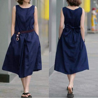 anti maternity wear - Maternity dresses linen sleeveless cotton dress big yards belt pregnant women dress new summer wear