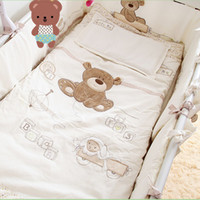 baby cot size - Cotton Baby Cot Bedding Set Newborn Cartoon Bear Crib Bedding Detachable Quilt Pillow Bumpers Sheet Cot Bed Linen Size