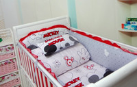 Cheap Promotion! 6PCS Mickey Baby bedding sets Bed set in the cot Bed linen for children Crib bumpers,just(bumpers+sheet+pillow cover)