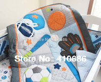 baby blanket kits - Blue Base Ball Sports Boy Baby Crib Bedding set Embroidered Comforter Bumpers Sheet Nappy bag Blanket for babies cot kit