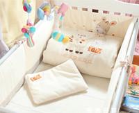 Cheap 7Pcs Cotton Baby Crib Bedding Set for Girls Boys Cartoon Deer Newborn Baby Bed Linen Cot Quilt Bumpers Pillow Sheet Set 4 Size
