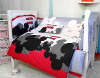 Unisex Three-piece Cribs Bedding Promotion! 6PCS Mickey Mouse Baby Bedding Sets,Baby Cot Bedding Sets Sale (bumper+sheet+pillow cover)