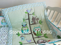 Unisex baby girl comforters - New Appliqued Baby Crib bedding Toddle Quilt Comforter for girl and boy Birdie Owlet Tree Animals Green Color