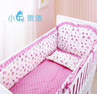 Unisex Three-piece Cribs Bedding Promotion! 6PCS Crib Sets Baby Newborn Bedding Set Cotton Unisex Baby Cot Bedding Set (bumper+sheet+pillow cover)
