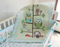 Feliz Búhos y Amigos bebé ropa de cama cuna conjunto lindo 7pcs Cuna establece bordado Edredón parachoques Hoja Faldón para el kit de cama de niño