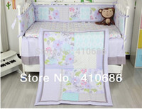 baby girl comforter sets - 7pcs Purple Butterflys Flowers Appliqued Baby Cot Crib Bedding Set items includes Comforter Bumper Fitted Sheet Skirt
