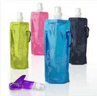 Wholesale Portable folding my sports water bottle for drinking camping squeeze plastic climbing equipment garrafa termica agua ml O02