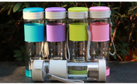 Wholesale Outdoor travel tea infuser cup maker sports plastic portable leak proof water bottle with lid and rope ml