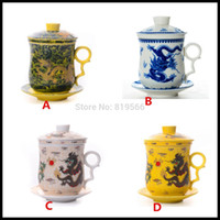 ceramic cup and saucer - Chinese Dragon Ceramic Tilt Tea Cups And Saucers ml Porcelain Infuser Cup Personal Drinkware Bone China Mugs Gifts Colors