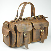 Wholesale Mens travel bags luggage tote handbas genuine leather cowhide brown color vintage new duffle gym bags