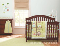 bedding dust ruffles - Happy Owls and Friends Cute baby bedding set Cot set Embroidered Quilt Bumper Sheet Dust Ruffle cot bumper for boy bed kit
