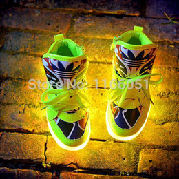 Wholesale LED Lighted Luminous Shoes for Kids Painting Mask Patterns Boys Girls Children Shoes High Top Children Boots Sneakers