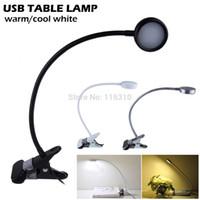 venda por atacado bedside lamp-LED flexível Light Reading Clip-on Bed Table Desk Lamp cabeceira Dia Branco Aprendizagem lâmpada de leitura mini-LED candeeiro de mesa pode ser escurecido USB