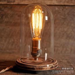 glass bell jar table lamp vintage Night Light Creative wood lighting Bedroom lamp edison lamp MODERN steampunk table lamp