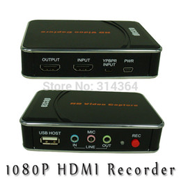 Wholesale New P Full HD Video Game Capture Recorder Box HDMI Component video R L Audio Input HDMI USB Output Save into USB Flash HDD