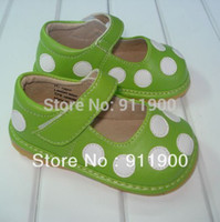 baby squeaky shoe - Baby Girl Squeaky Shoes Green Leather Squeaky Mary Jane with White Polka Dots