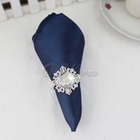 Wholesale 100pcs Navy Blue Satin Table Dinner Napkin quot Square Pocket Handkerchief Multi Purpose Wedding Banquet Decor