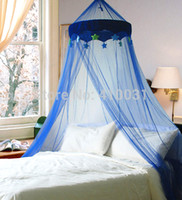 Wholesale DREAMMA Blue Round Dome Bed Canopy Bedcover Mosquito Net Bug Netting Kid Bedding Star Canapy Prince Boy Girl Children Repellent