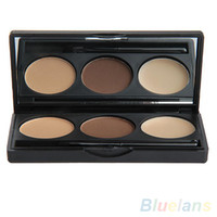 Wholesale Three Color Cosmetic Makeup Palette Brush Mirror Natural Soft Eyebrow Powder