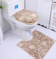 Wholesale Fashion Simple Microfiber three piece toilet closestool mat toilet set toilet seatcover three piece overcoat toilet case HD0218