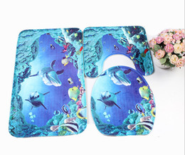 Wholesale Brand New Sea World Design PC Of Bathroom Carpet Pedestal Lid Mat Toilet Cover Set