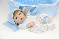 baby doll cradles - 12 Reborn Boy baby dolls soft silicone vinyl handmade fully with Brown hair amp Blue cradle child gift