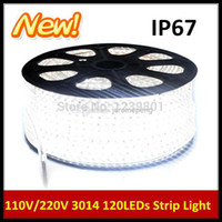 Wholesale meters Newest M LEDs SMD V Waterproof IP67 Warm Cool White LED Stripe Lights with EU Power Cord Plug