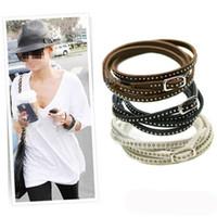 Wholesale Unisex Womens Vogue Wrap Cuff Bangle Punk Multilayer Leather Rivet Stud Bracelet