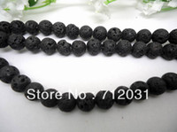 lava rock - Natural Black Round Lava rock Beads One String mm Buyer Can Choose Size