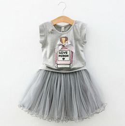 2015 Summer Fashion Children 2PC Clothing Set Elegant Perfume bottle T Shirt + TUTU Skirt Gray Girls Set Kids Suit