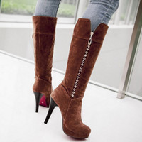 Cheap Female winter boots knee boots women fashion stiletto boots black brown yellow green