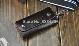Wholesale Brand Genuine Leather Women amp Men Brown Key Fob Wallets Holder Bag Chave Pouch Key covers Housekeeper Case Have de carro lzw165