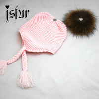 baby bomber hat - Unique Design Girls Fur Pom Poms Winter Hat Wool Knitted Bomber Hat Crochet Baby Hats Baby Products Beanie Apparel Accessories