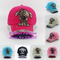 Wholesale Hot new fashion children baseball cap lovely design rhinestone DOG animal child snapback caps beauty girl boys hats