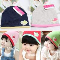 Wholesale Unisex Girls Kids Infants Baby Beanie Hat Cartoon Bird Print Decro Cap Colors