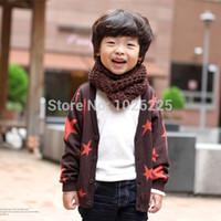 Wholesale Kids Unisex Cotton Long Sleeve casual Cardigan Stars Pattern Coat Jacket Tops Outwear Drop shipping